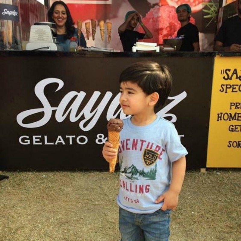 This tiny tot managed to get his icecream cone, but the event can getting overwhelming — Photo courtesy Saydyz