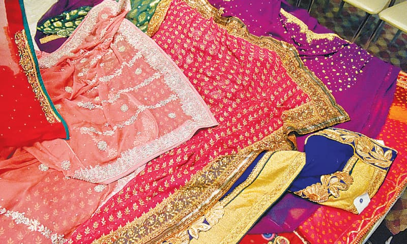 Hand-embroidered bridal saris. / Photos by Fahim Siddiqi / White Star