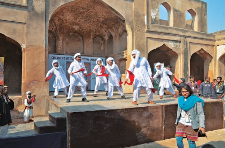 Children perform during the Children Literature Festival at the Lahore Fort. — White Star