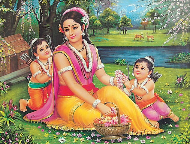 A painting depicting Sita with her twin sons Lava and Kusha