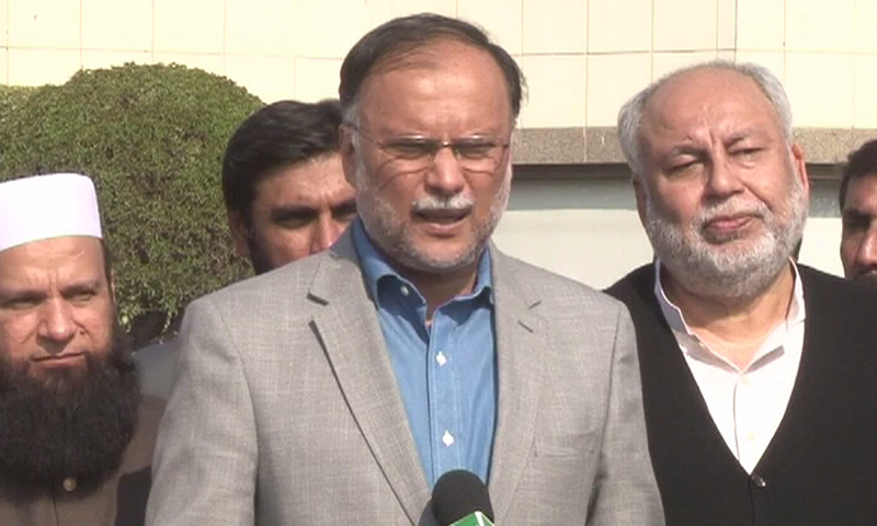 Interior Minister Ahsan Iqbal addresses the media in Islamabad on Sunday. ─ DawnNews