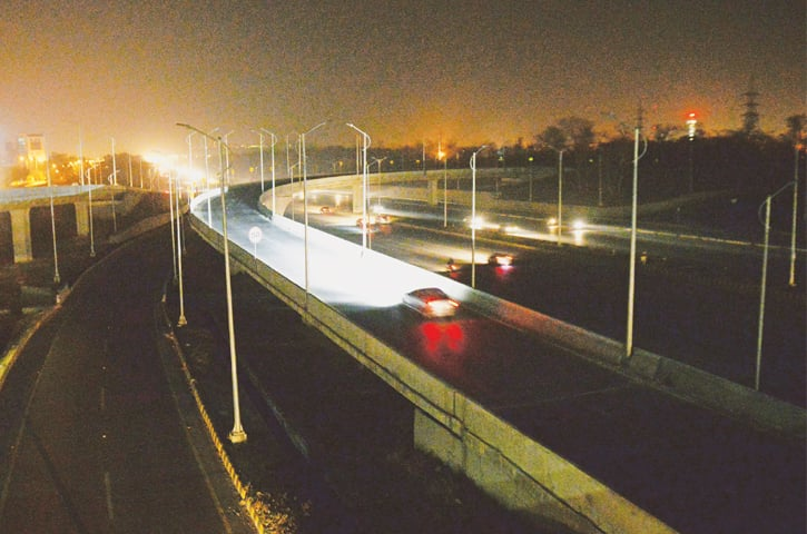 THE streetlights on Peshawar Mor interchange remain unoperational. — White Star