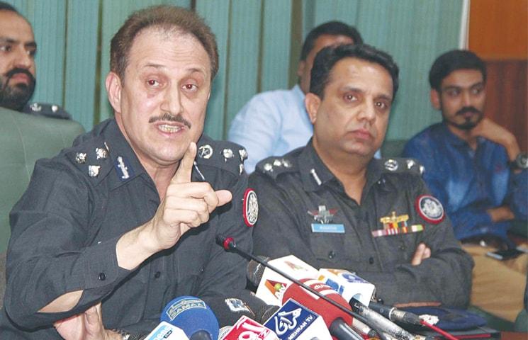 DIG Azad Khan speaks at the press conference.—Online