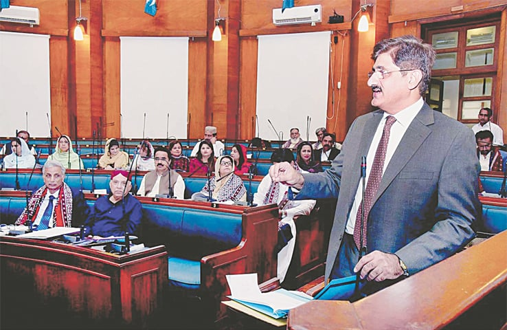 SINDH Chief Minister Syed Murad Ali Shah makes a point while answering queries of lawmakers during the provincial assembly's Question Hour on Monday.—APP