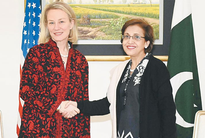 FOREIGN Secretary Tehmina Janjua welcomes US Acting Assistant Secretary of State Alice Wells to the Foreign Office on Monday.—INP