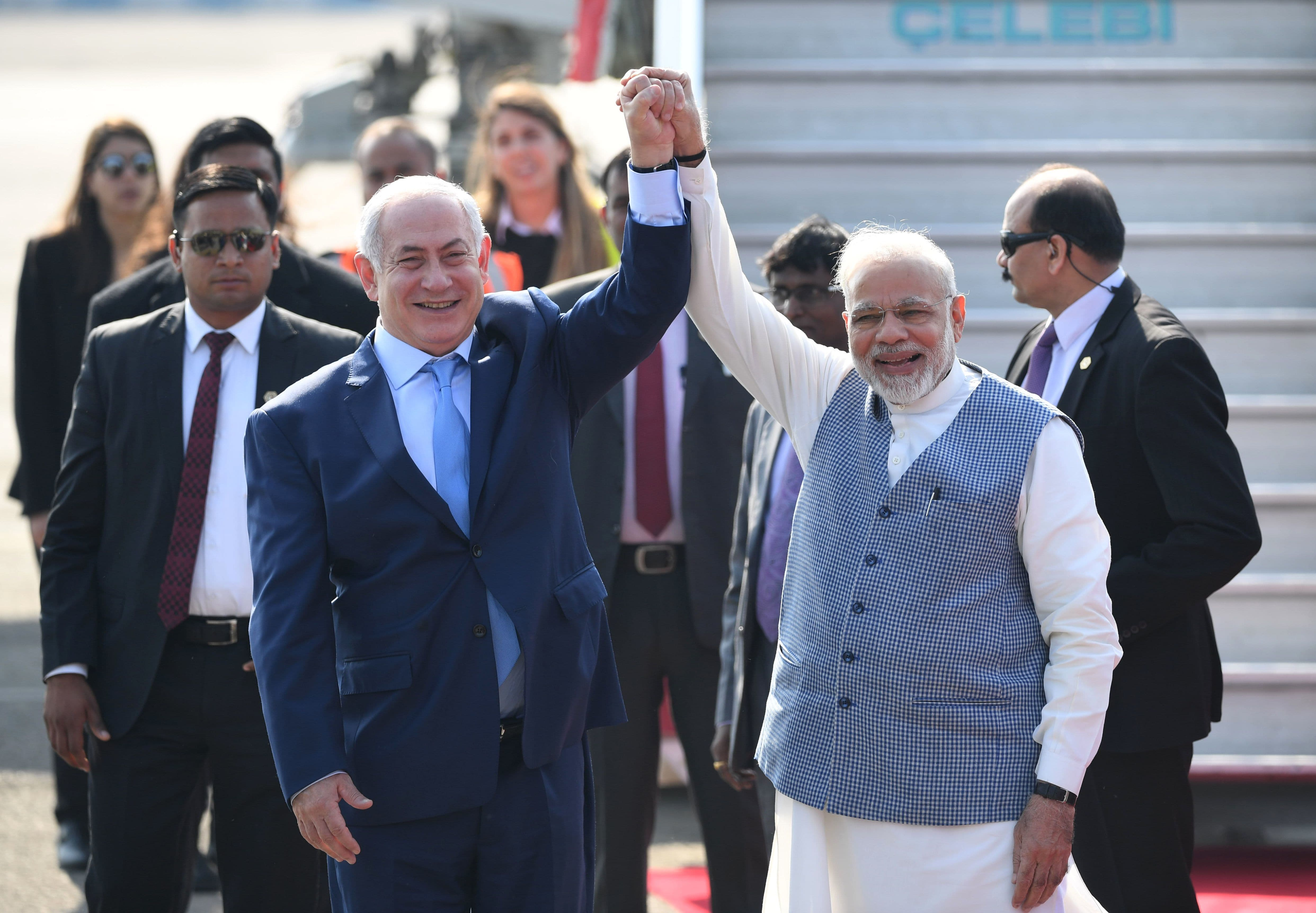 Indian PM Narendra Modi and Israeli PM Netanyahu pose for photographers after the latter arrived in New Delhi. — AFP