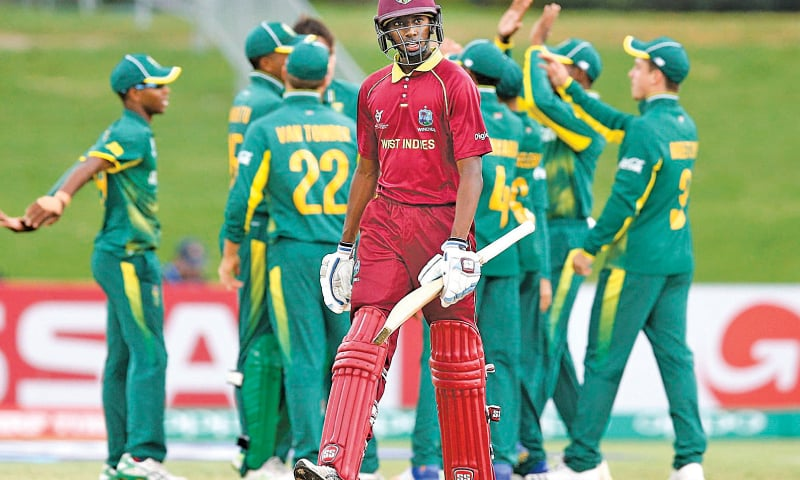 MOUNT MAUNGANUI: West Indies opener Keagan Simmons walks off after losing his wicket to South African pacer Gerald Coetzee during their U-19 World Cup match on Wednesday.—Courtesy ICC