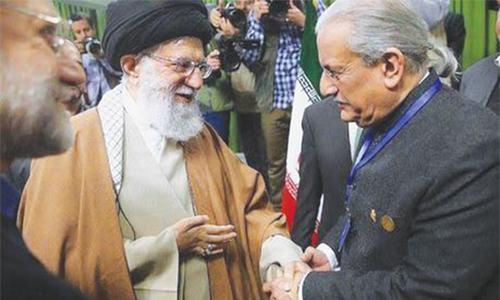 TEHRAN: Senate Chairman Raza Rabbani meets Iranian Supreme Leader Ayatollah Ali Khamenei on Wednesday.—APP