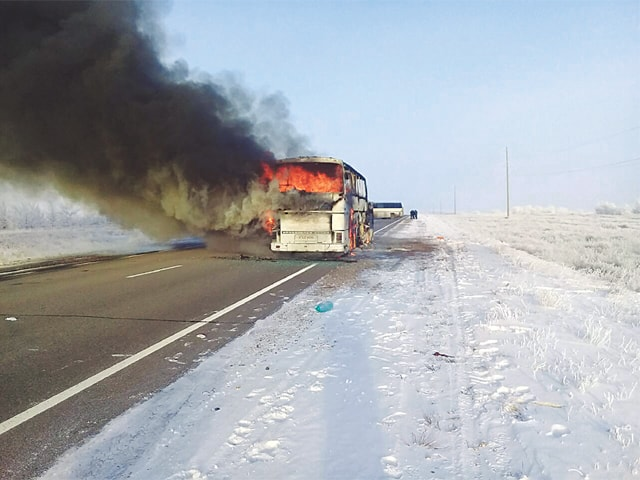 52 people die in bus fire in Kazakhstan