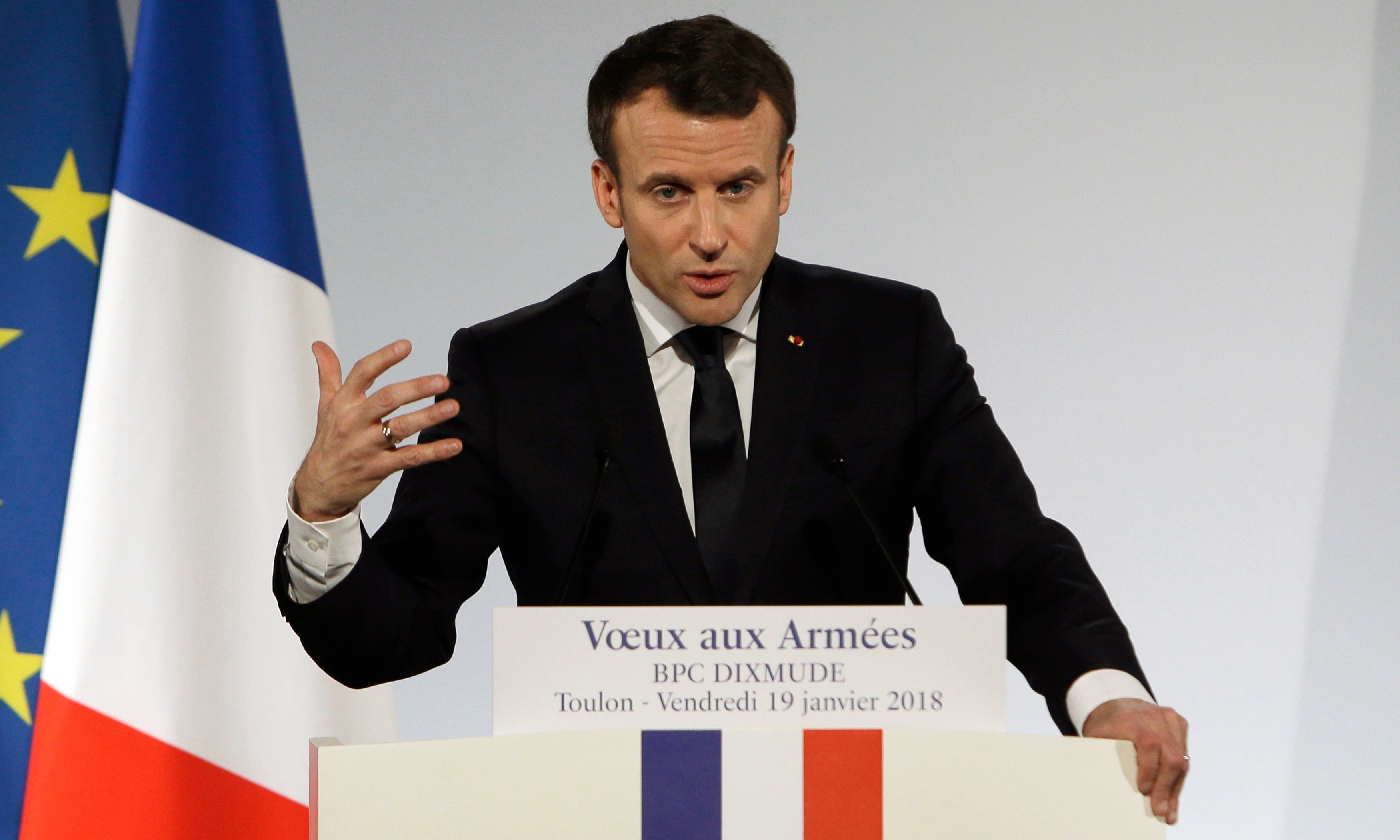 """Emmanuel Macron delivers a speech to present his New Year's wishes to the armed forces aboard the French Mistral Class assault ship and helicopter carrier """"Dixmude"""" at the Toulon Naval Base in Toulon, southern France. —AFP"""