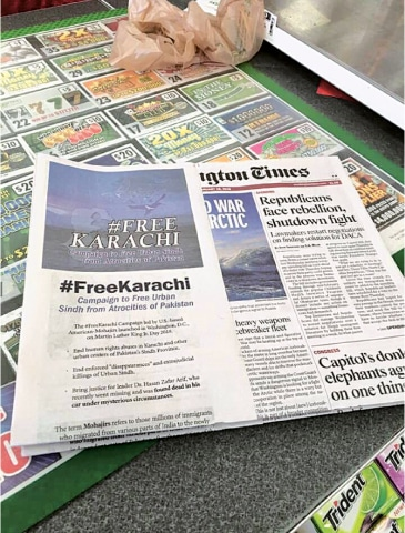 THE Washington Times on Thursday distributed a wrap with its regular edition, carrying the demand for a 'FreeKarachi'.
