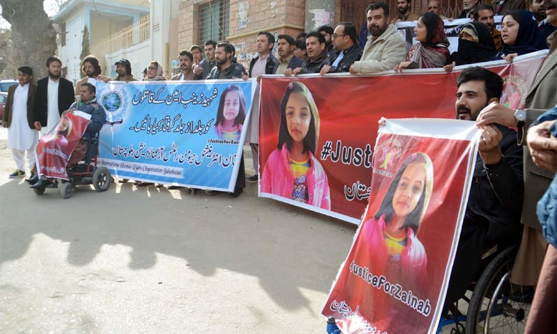 Members of Human Rights International Balochistan hold a protest at Quetta Press Club on Jan 11, 2018, against the rape and murder of Zainab | Arsalan Naseer/PPI Images
