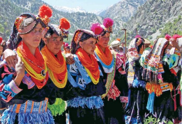 Kalash women dance during the Chilim Jusht festival. ? Dawn