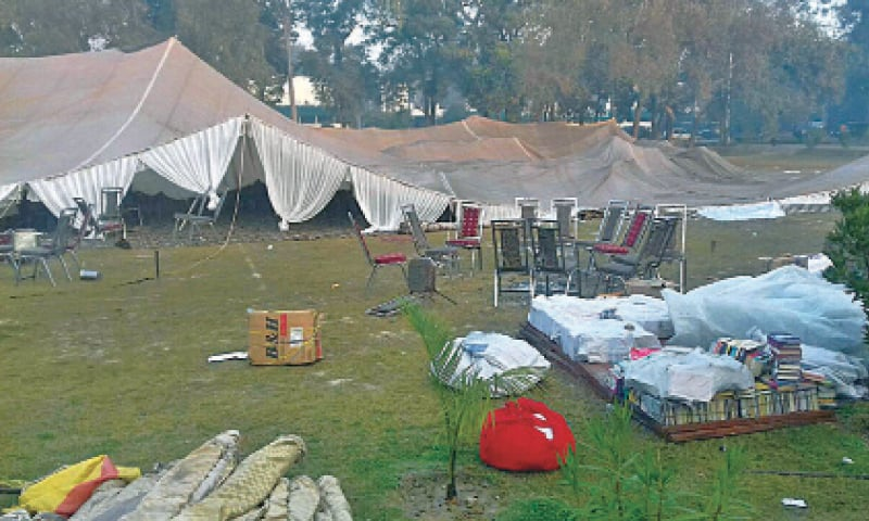 The uprooted tents after a clash between two student groups over organising an event to welcome newcomers to the Punjab University. — Online