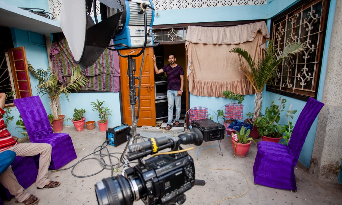 Television director Mazhar Moin on a set  | White Star