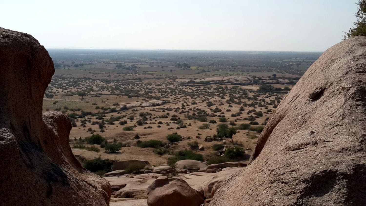 The arid and desolate landscape of Churio is in stark contrast to greenery which is seen after the rains.
