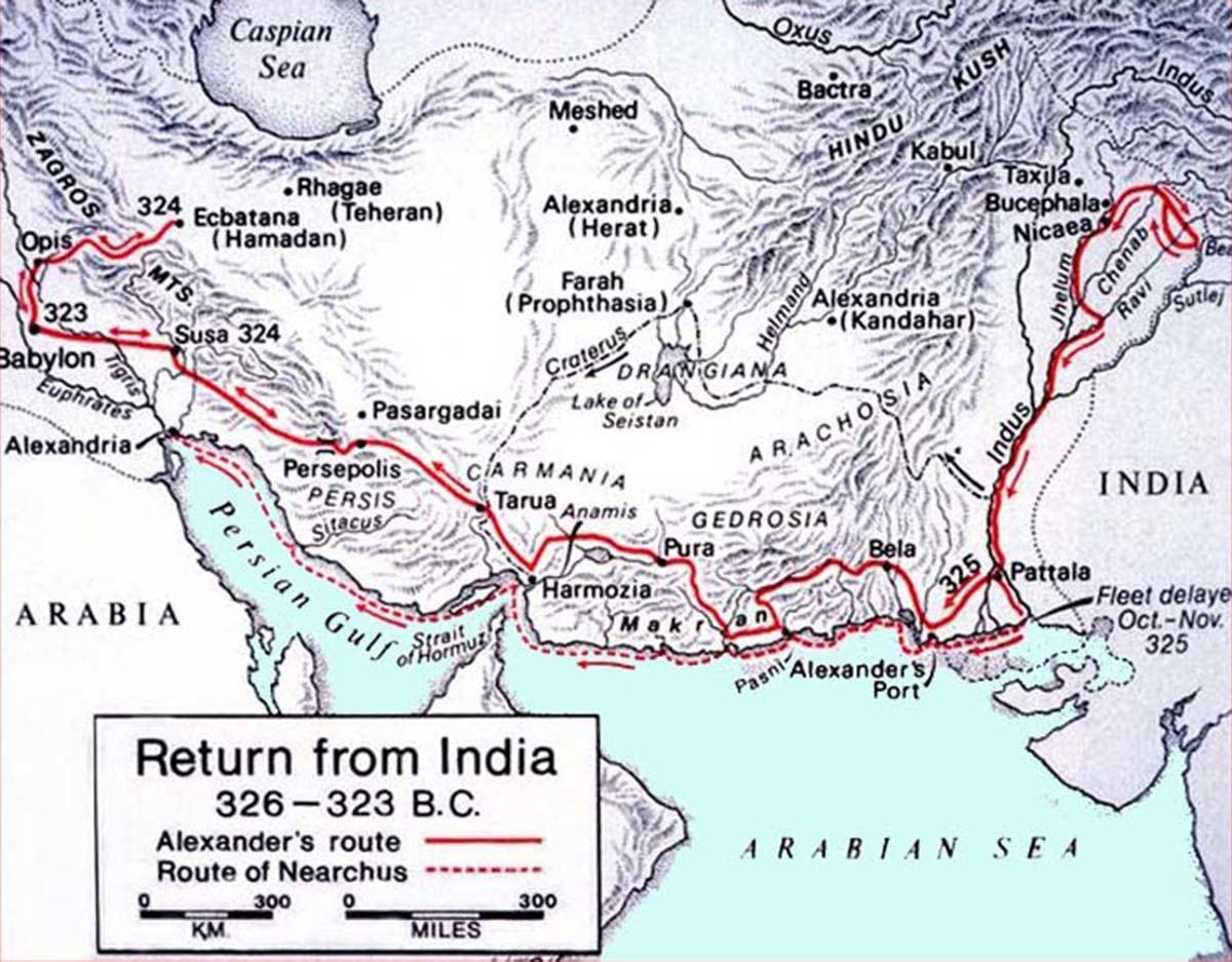 سندھ میں سکندرِ اعظم کی آمد اور روانگی کا نقشہ — کری ایٹو کامنز
