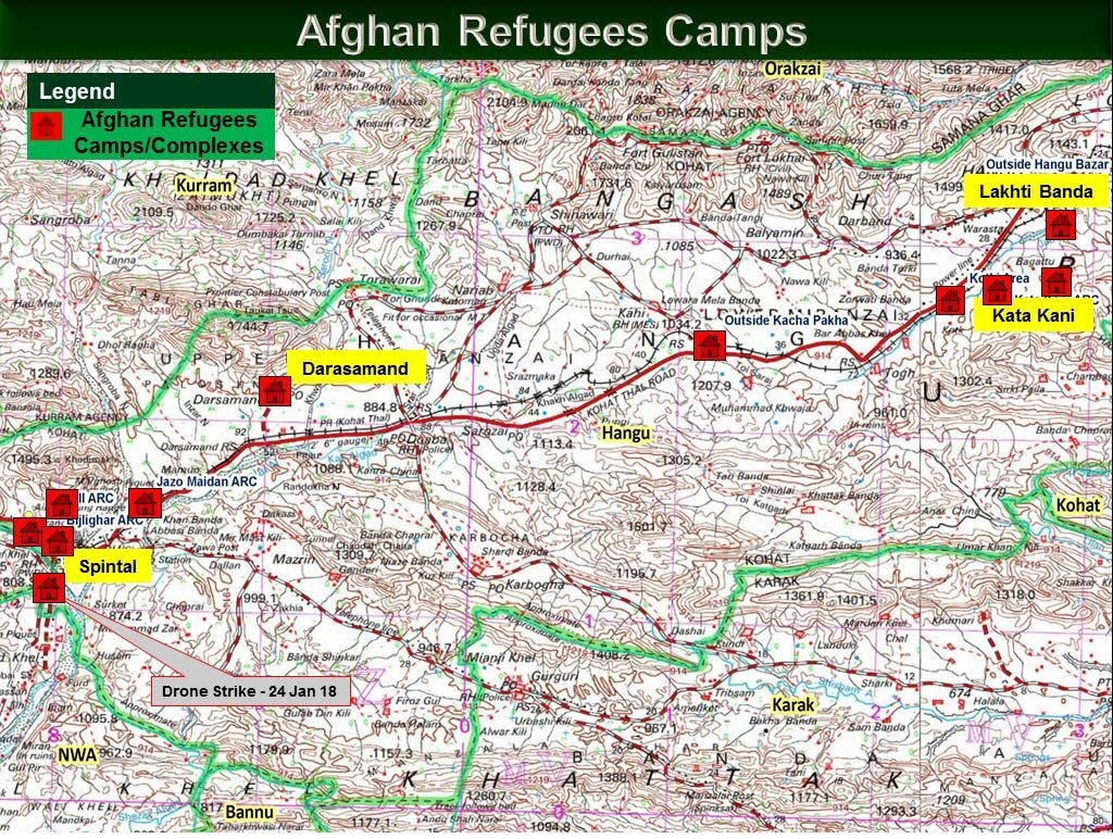 Map showing Afghan refugee camps in Hangu district — ISPR