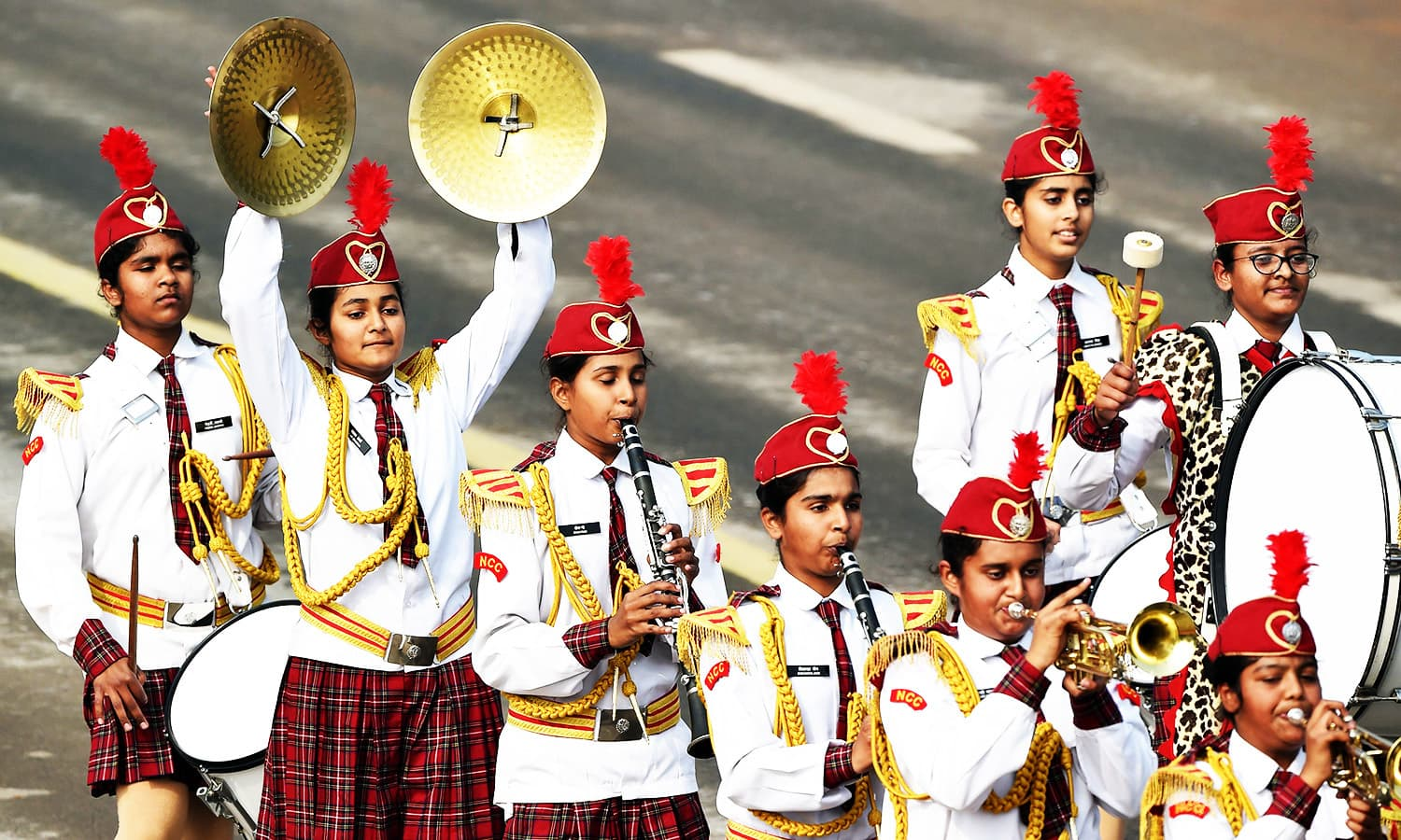 Indian Cadets from the National Cadet Corps contingent march during India's 69th Republic Day Parade in New Delhi.—AFP