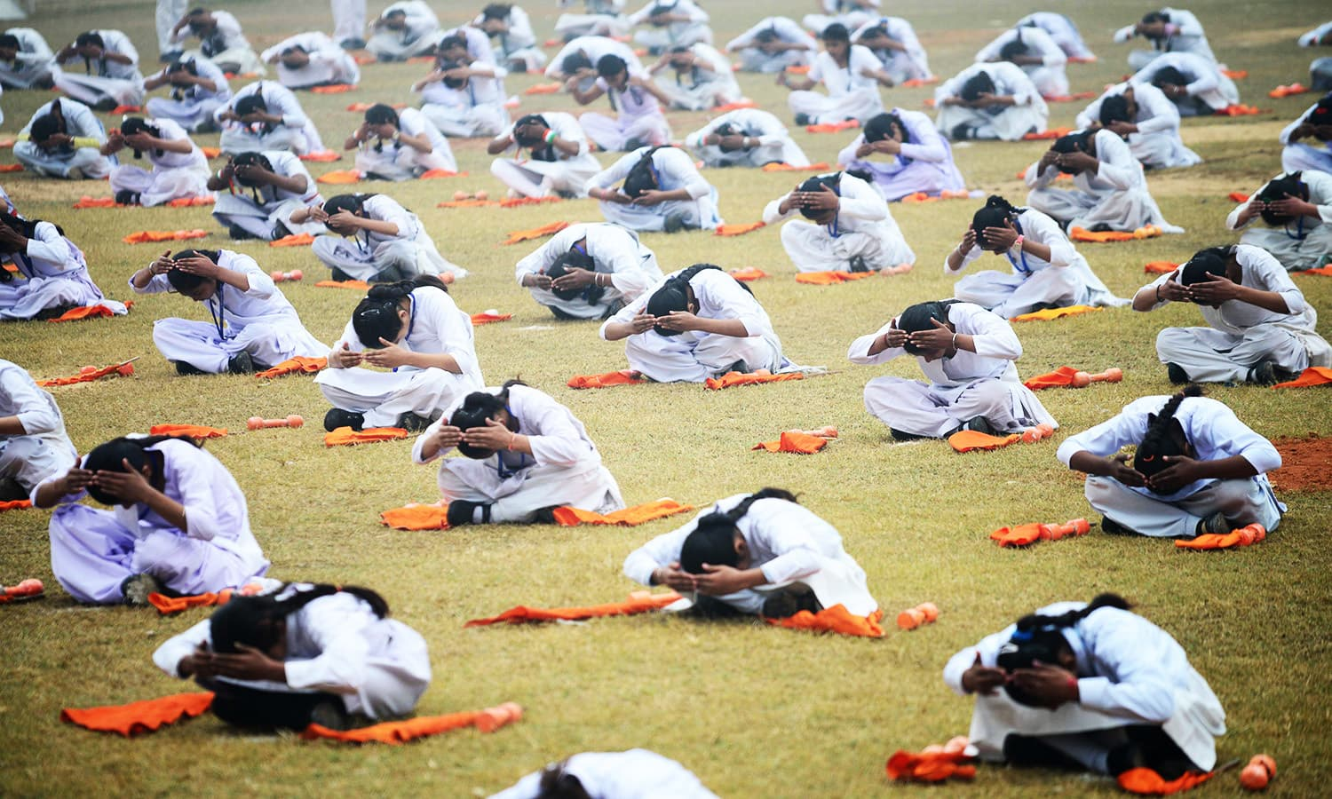 Indian students exercise during an event to mark Republic Day in Jalandhar.—AFP