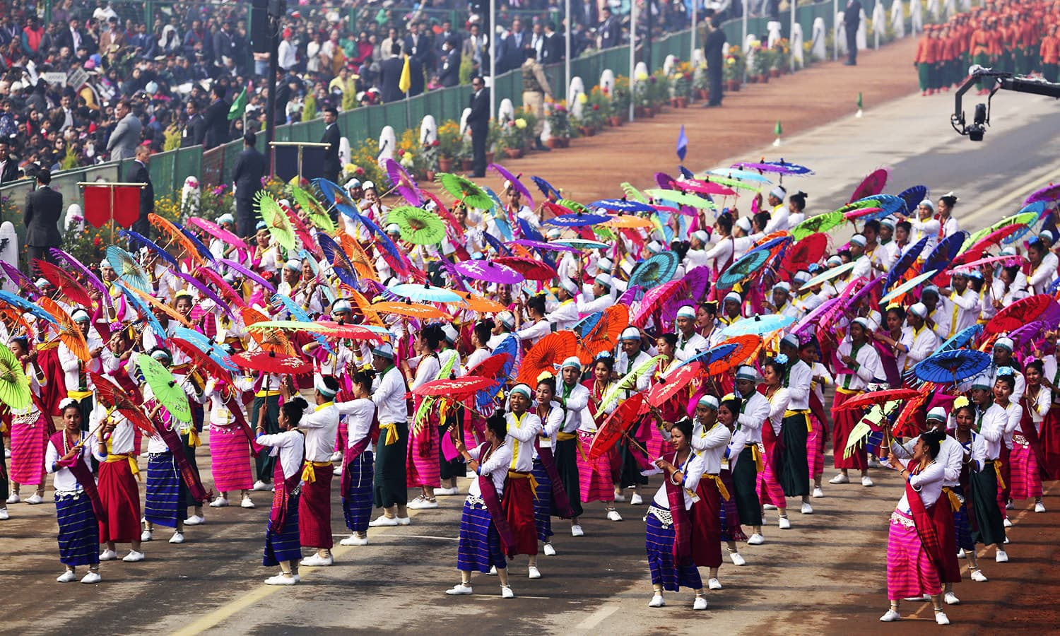 India cultural artists perform at Rajpath, the ceremonial boulevard, during Republic Day parade in New Delhi.—AP