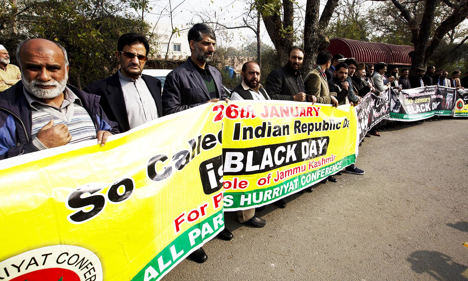 People protest near Indian Embassy in Islamabad to express solidarity with Kashmiris in India-held Kashmir.—AP