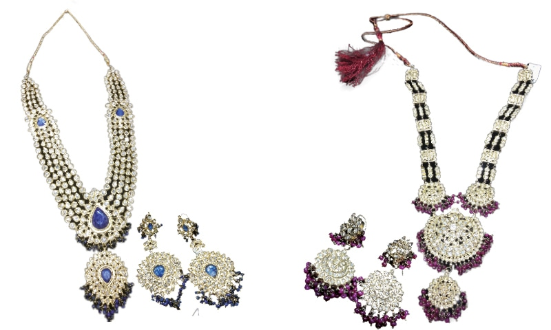 An antique nose ring circa 19th century from India with pearls, gold and Jadau work (Centre); a heavy Kundan set with motifs of flowers and cresecents. Such traditional motifs are becoming popular again|Photos by the writer