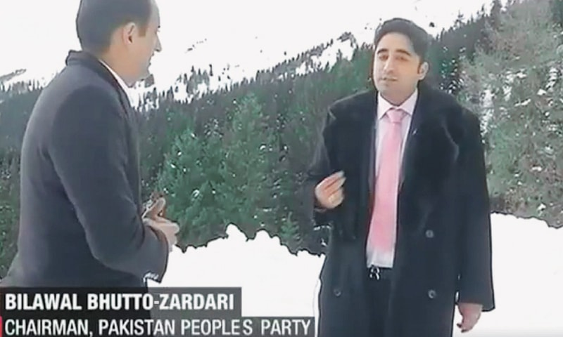 A screen grab from India Today video shows Pakistan Peoples Party chairman Bilawal Bhutto-Zardari speaking to journalist Rahul Kanwal.