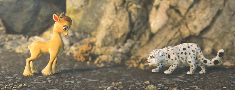 Mehru the markhor meets Chakku the snow leopard (voiced by Abdul Nabi Jamali)