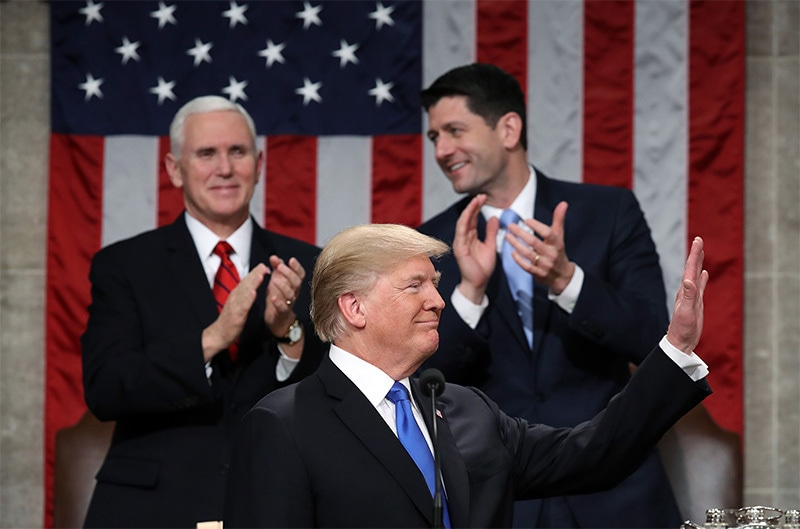 US President Donald Trump delivers the State of the Union address in the chamber of the US House of Representatives in Washington, DC, on January 30.—AFP