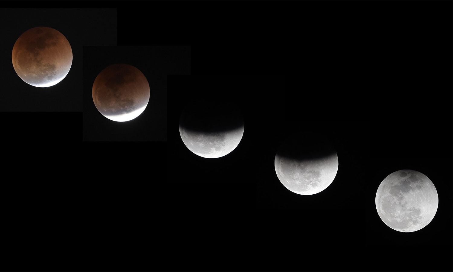"A combination of pictures taken and created on January 31 in Islamabad shows the moon during a lunar eclipse, referred to as the ""super blue blood moon"".— AFP"