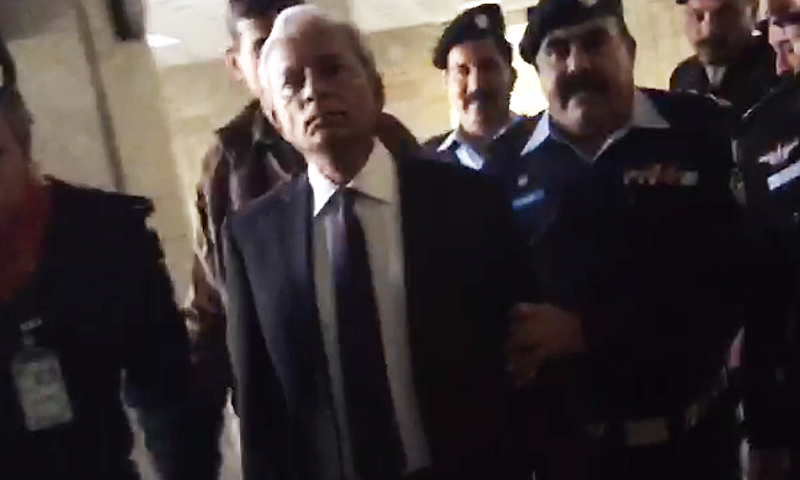 Senator Nehal Hashmi was taken into custody from the courtroom by the police after SC announced its verdict in contempt of court case registered against him.─DawnNews