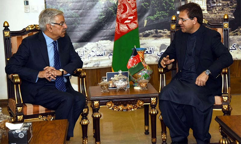 Foreign Minister Khawaja Asif meets Afghan Ambassador to Pakistan Omar Zakhilwal.— Photo courtesy: FO