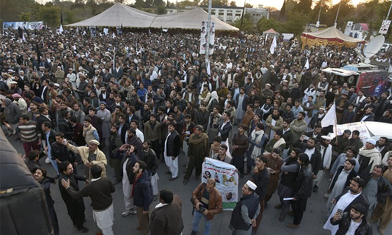 People rally to condemn the killing of Naqeebullah on Thursday in Islamabad.— AP