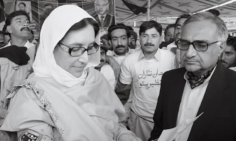 MIR Hazar Khan Bijarani with Benazir Bhutto in 2007.