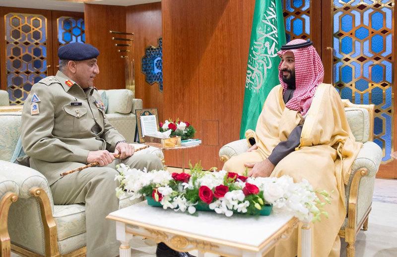 Army Chief Gen Qamar Javed Bajwa and Saudi Crown Prince Mohammed bin Salman meet in Riyadh.—Photo courtesy Radio Pakistan