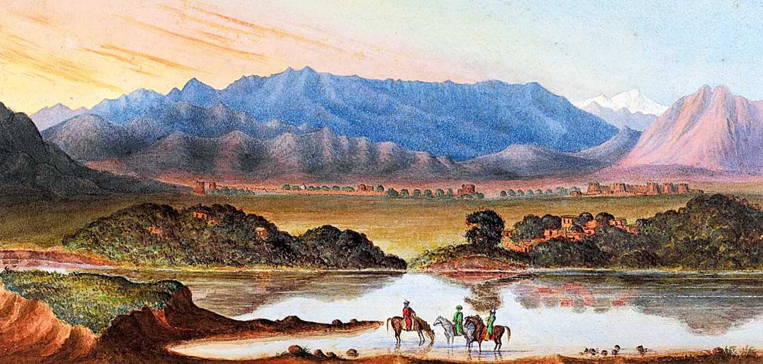 'A watercolour Rock Aornos from Huzara' by James Abbott shows one of the 22 mud forts situated along the Indus in the Tanawal region of Hazara, Khyber Pakhtunkhwa.