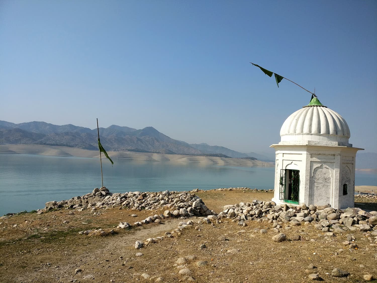 A solitary shrine on the island of Bharukot stays submerged most of the year.