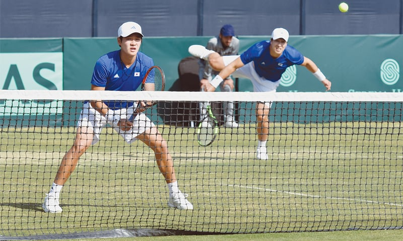 SOUTH Korean players in action during the doubles match.—White Star