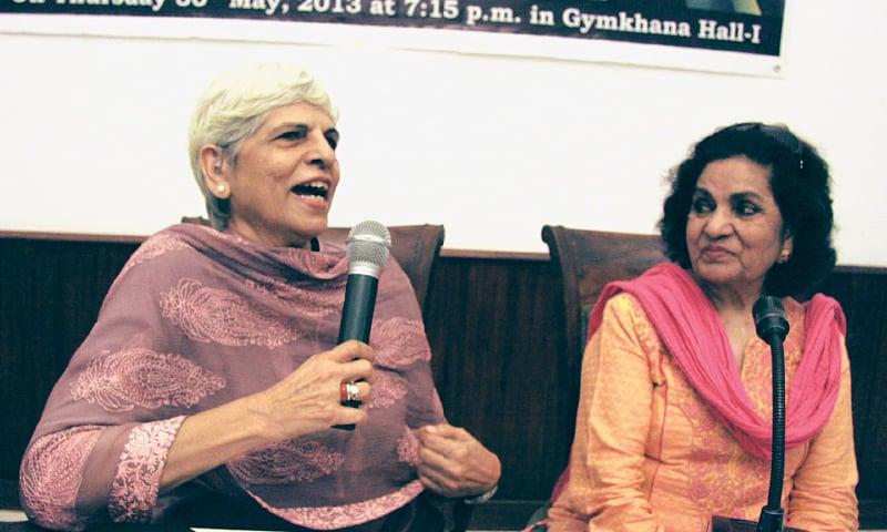 Two renowned writers: journalist Zubeida Mustafa alongside playwright Haseena Moin | Asif Hamdani/White Star