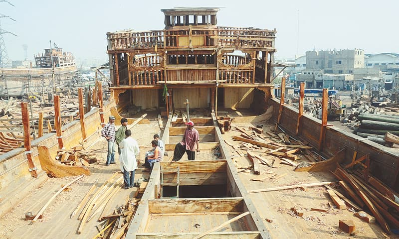 A BOAT nears completion at the Karachi Fish Harbour.—Fahim Siddiqi / White Star