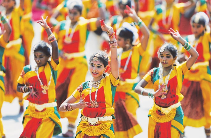 Colombo: Tamil dancers perform during the celebrations on Sunday.—Reuters