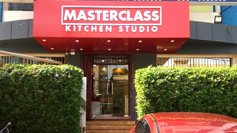 The cooking studio is right on University Road in Gulshan-e-Iqbal