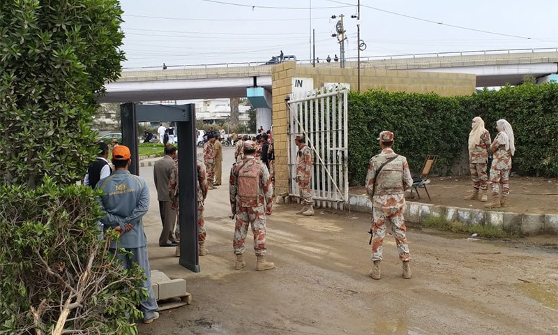Rangers' Personnel at the entrance of the National Stadium in Karachi — *DawnNews*