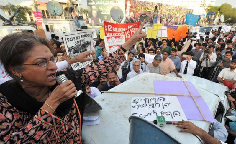 Asma Jahangir addresses a protest in Lahore on April 4, 2009, against the public flogging of a woman. — AFP/File