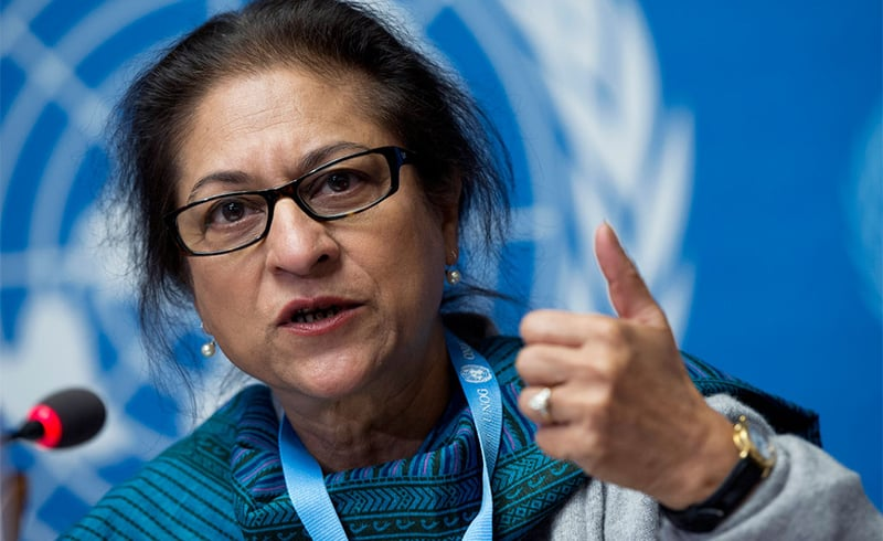 Asma Jahangir addressing a conference in her role as a UN Special Rapporteur on the human rights situation in Iran. — UN Photo/Jean-Marc Ferré