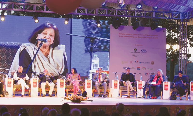 Anis Haroon speaks at the closing session of the Karachi Literature Festival on Sunday.—White Star