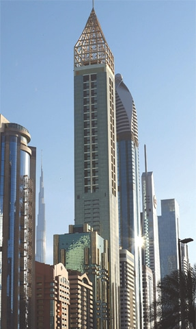 Dubai: The 75-storey Gevora Hotel (centre), which stands 356 metres, or nearly a quarter of a mile tall.—AFP
