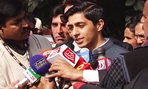Ali Tareen speaking to media on Monday, Feb 12, in the  NA-154 Lodhran constituency. — DawnNews