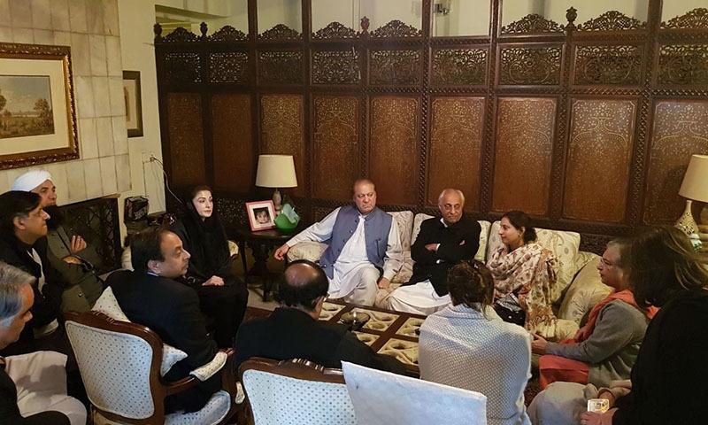 Nawaz Sharif condoles with Asma Jahangir's family.— Javed Hussain